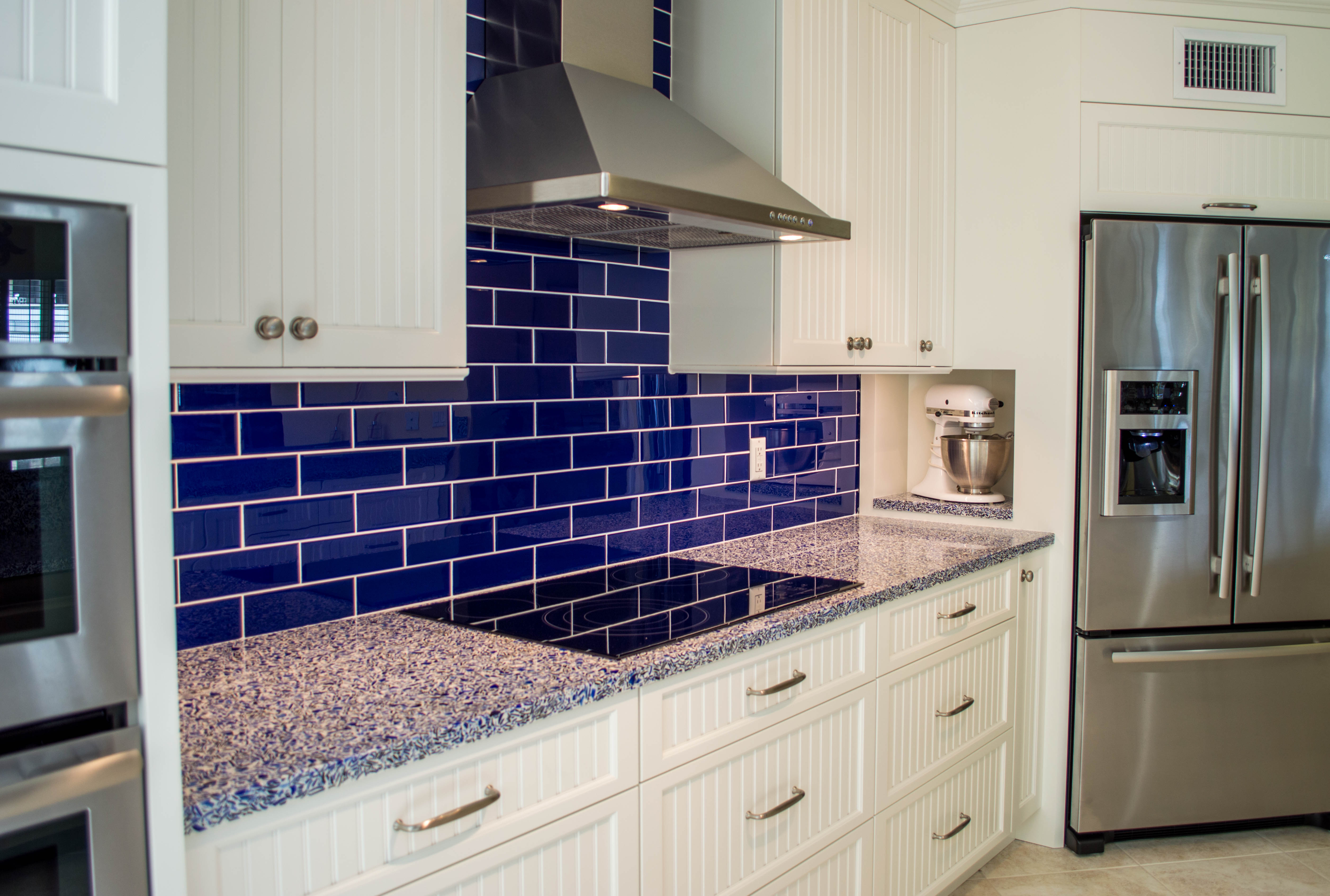 3-vetrazzo recycled glass in cobalt skye for countertops and creative kitchen storage by waterview kitchens