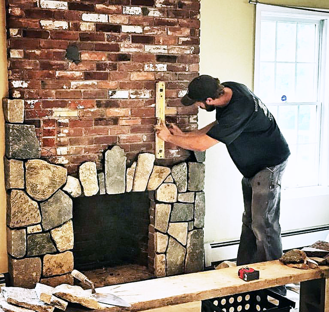 Fireplace With Thin Stone Veneer, Can You Go Over A Brick Fireplace With Stone